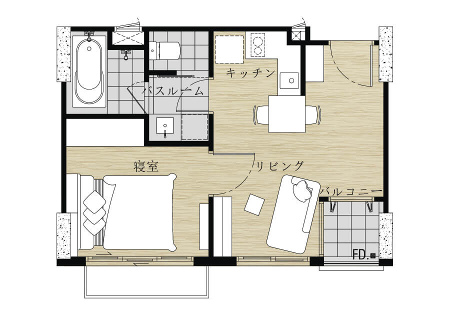 1Bed room(33~42㎡)